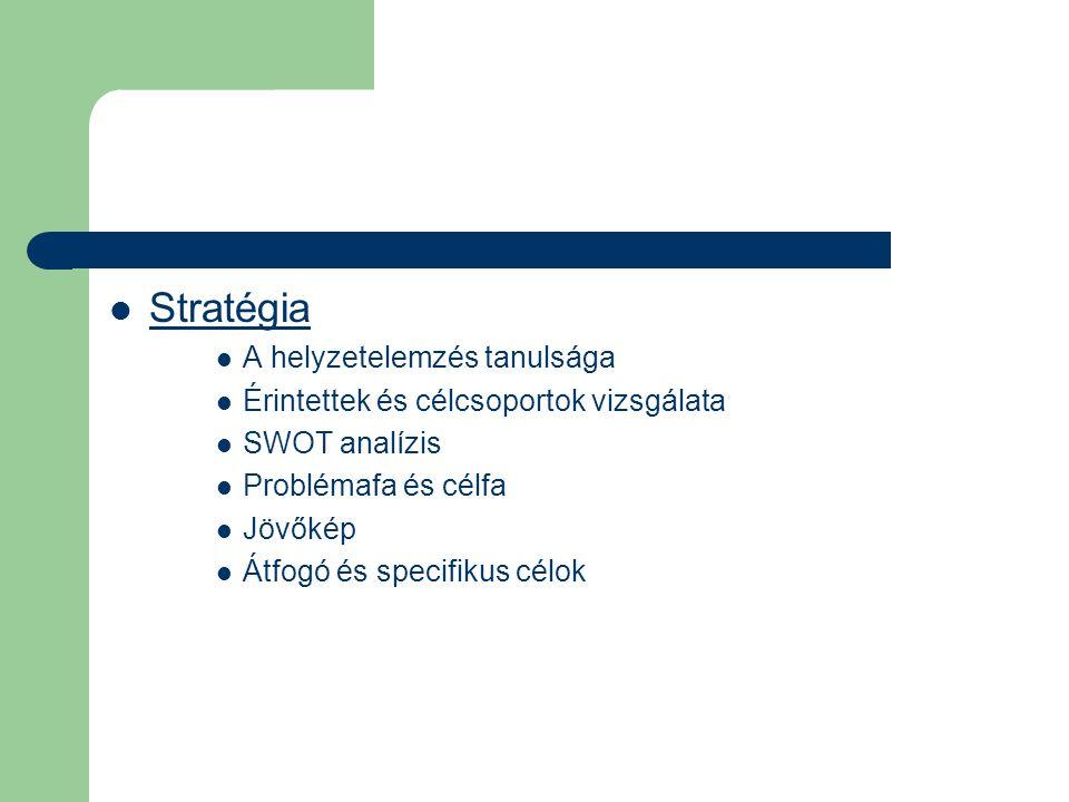  Stratégia  A helyzetelemzés tanulsága  Érintettek és célcsoportok vizsgálata  SWOT analízis  Problémafa és célfa  Jövőkép  Átfogó és specifikus célok
