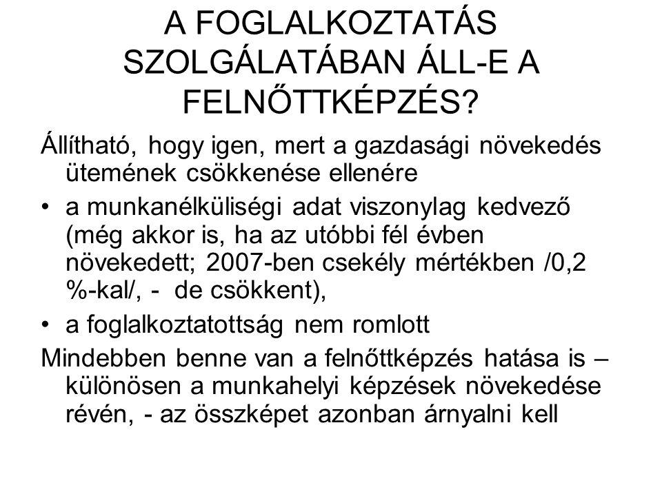A FOGLALKOZTATÁS SZOLGÁLATÁBAN ÁLL-E A FELNŐTTKÉPZÉS.