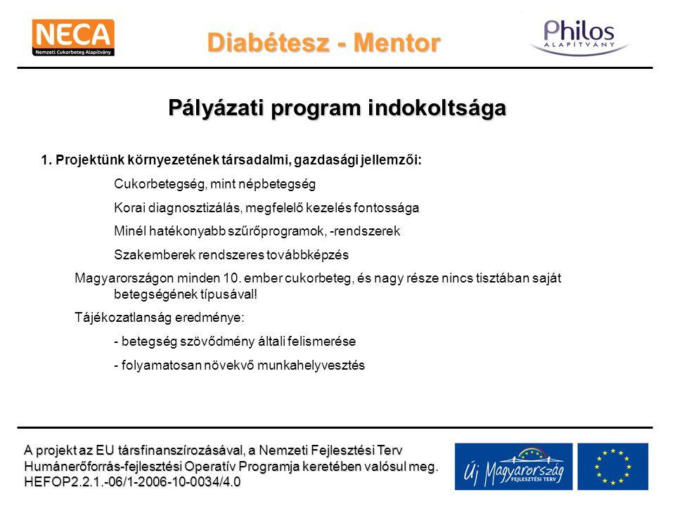 Diabétesz - Mentor Pályázati program indokoltsága 1. Projektünk környezetének társadalmi, gazdasági jellemzői: Cukorbetegség, mint népbetegség Korai d