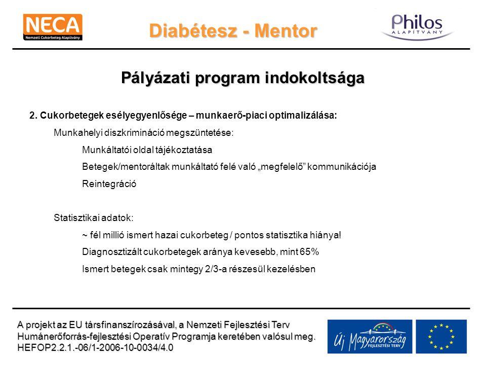 Diabétesz - Mentor Pályázati program indokoltsága 2. Cukorbetegek esélyegyenlősége – munkaerő-piaci optimalizálása: Munkahelyi diszkrimináció megszünt