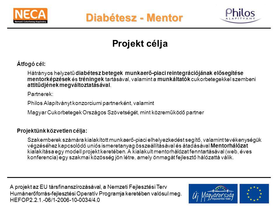 Diabétesz - Mentor Projekt célja Átfogó cél: Hátrányos helyzetű diabétesz betegek munkaerő-piaci reintegrációjának elősegítése mentorképzések és tréni