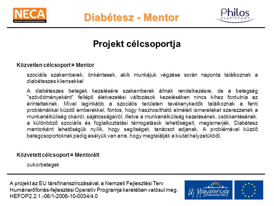 Diabétesz - Mentor Projekt célcsoportja Közvetlen célcsoport = Mentor szociális szakemberek, önkéntesek, akik munkájuk végzése során naponta találkoznak a diabéteszes kliensekkel A diabéteszes betegek kezelésére szakemberek állnak rendelkezésre, de a betegség szövődményeként fellépő életvezetési változások kezelésében nincs kihez fordulnia az érintetteknek.
