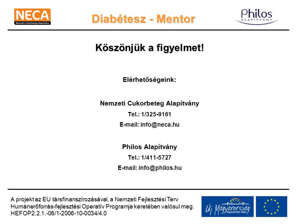 Diabétesz - Mentor Köszönjük a figyelmet! Elérhetőségeink: Nemzeti Cukorbeteg Alapítvány Tel.: 1/325-9161 E-mail: info@neca.hu Philos Alapítvány Tel.: