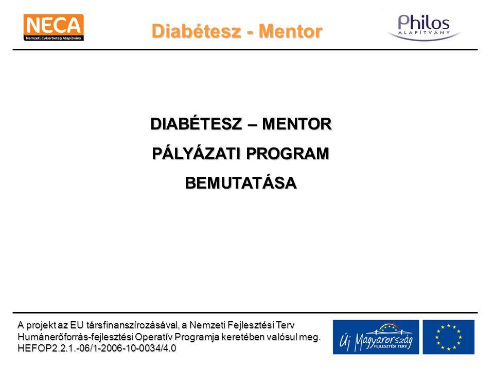 Diabétesz - Mentor DIABÉTESZ – MENTOR PÁLYÁZATI PROGRAM BEMUTATÁSA A projekt az EU társfinanszírozásával, a Nemzeti Fejlesztési Terv Humánerőforrás-fe