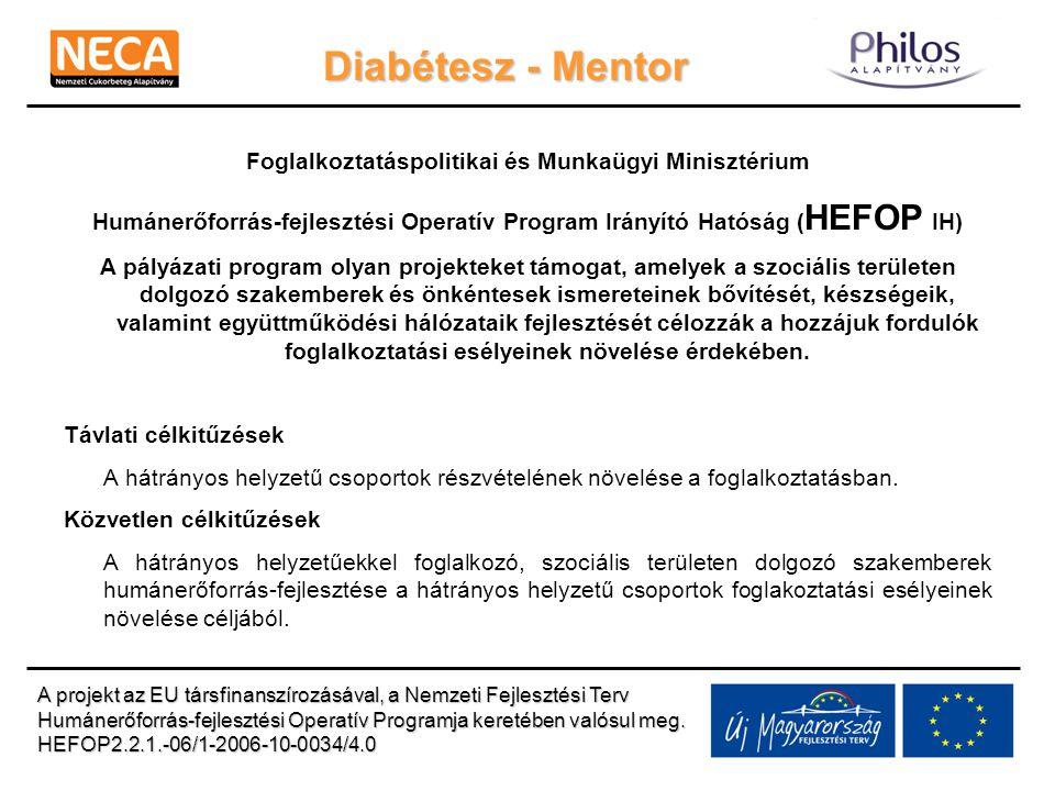 Diabétesz - Mentor Foglalkoztatáspolitikai és Munkaügyi Minisztérium Humánerőforrás-fejlesztési Operatív Program Irányító Hatóság ( HEFOP IH) A pályáz
