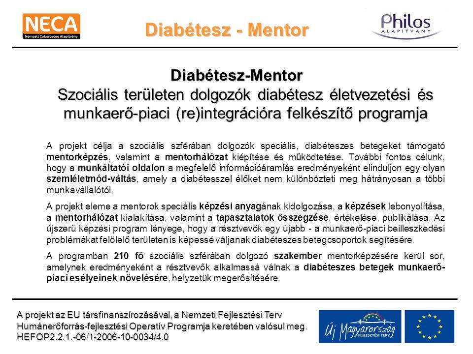 Diabétesz - Mentor Program eredményeinek továbbvitele, fenntartása NeCA Évente 1-2 alkalommal Diabetes nurs képzések Társadalmi célú kampányok Hálózat fejlesztése WEB: www.neca.hu Program során kidolgozott tematika elérése Mentorhálózat webes fórum működtetése Disszemináció A projekt az EU társfinanszírozásával, a Nemzeti Fejlesztési Terv Humánerőforrás-fejlesztési Operatív Programja keretében valósul meg.