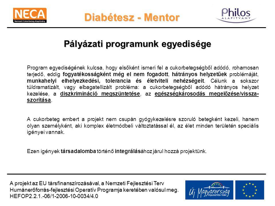 Diabétesz - Mentor Pályázati programunk egyedisége Program egyediségének kulcsa, hogy elsőként ismeri fel a cukorbetegségből adódó, rohamosan terjedő,
