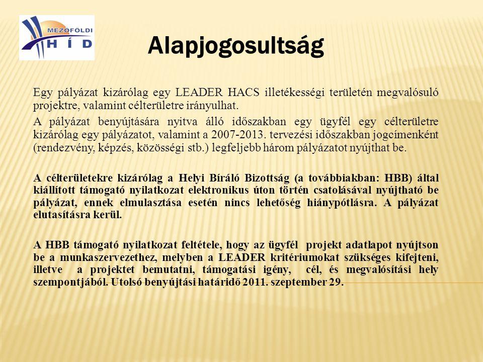 Alapjogosultság Egy pályázat kizárólag egy LEADER HACS illetékességi területén megvalósuló projektre, valamint célterületre irányulhat.