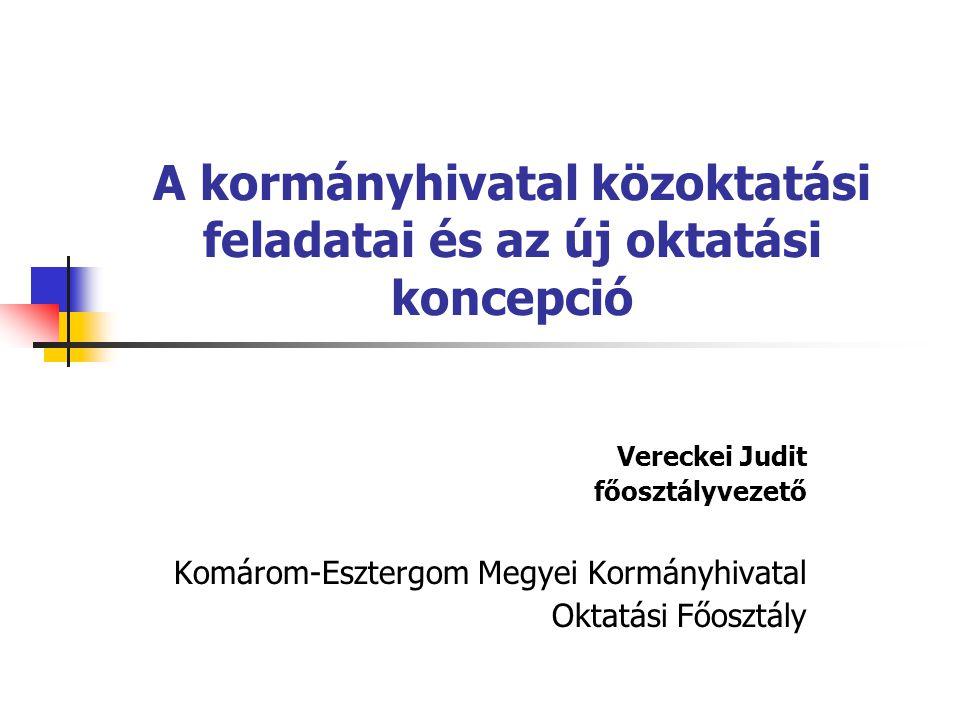 A kormányhivatal közoktatási feladatai és az új oktatási koncepció Vereckei Judit főosztályvezető Komárom-Esztergom Megyei Kormányhivatal Oktatási Főosztály