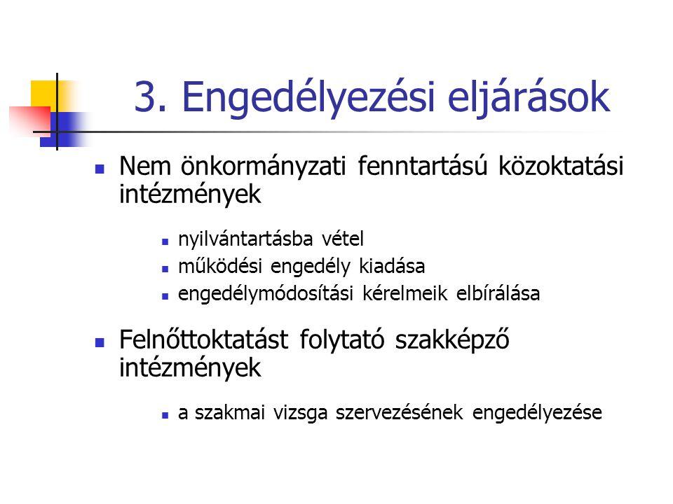 3. Engedélyezési eljárások  Nem önkormányzati fenntartású közoktatási intézmények  nyilvántartásba vétel  működési engedély kiadása  engedélymódos