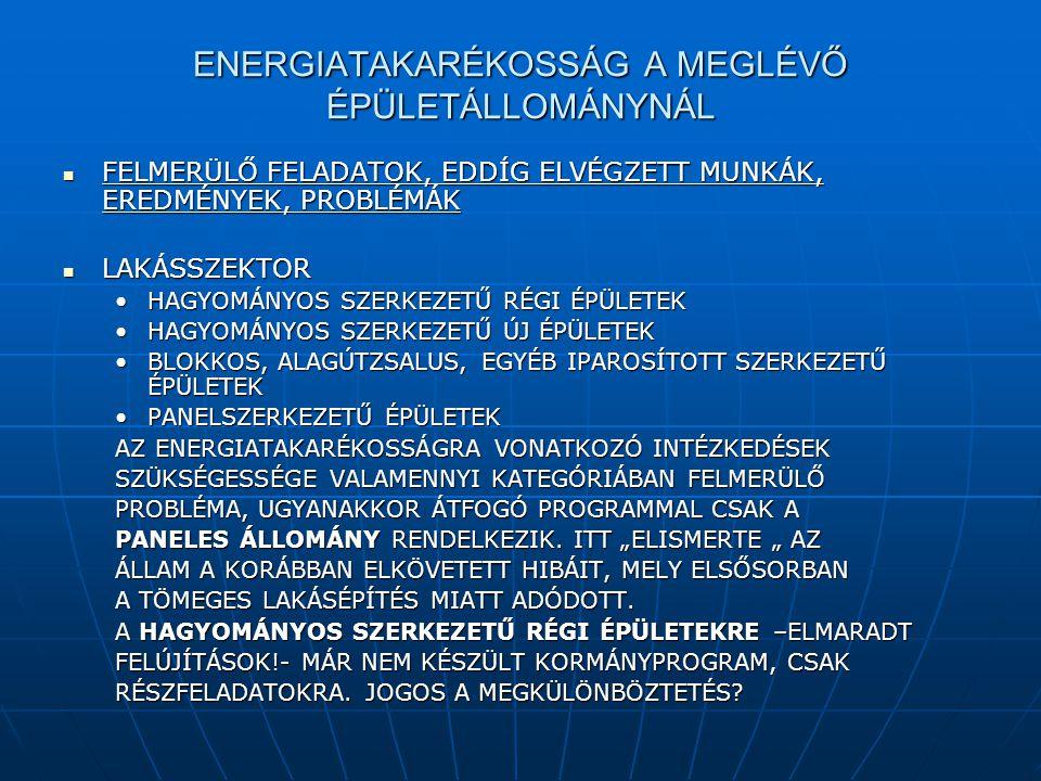 ENERGIATAKARÉKOSSÁG A MEGLÉVŐ ÉPÜLETÁLLOMÁNYNÁL  FELMERÜLŐ FELADATOK, EDDÍG ELVÉGZETT MUNKÁK, EREDMÉNYEK, PROBLÉMÁK  LAKÁSSZEKTOR •HAGYOMÁNYOS SZERK