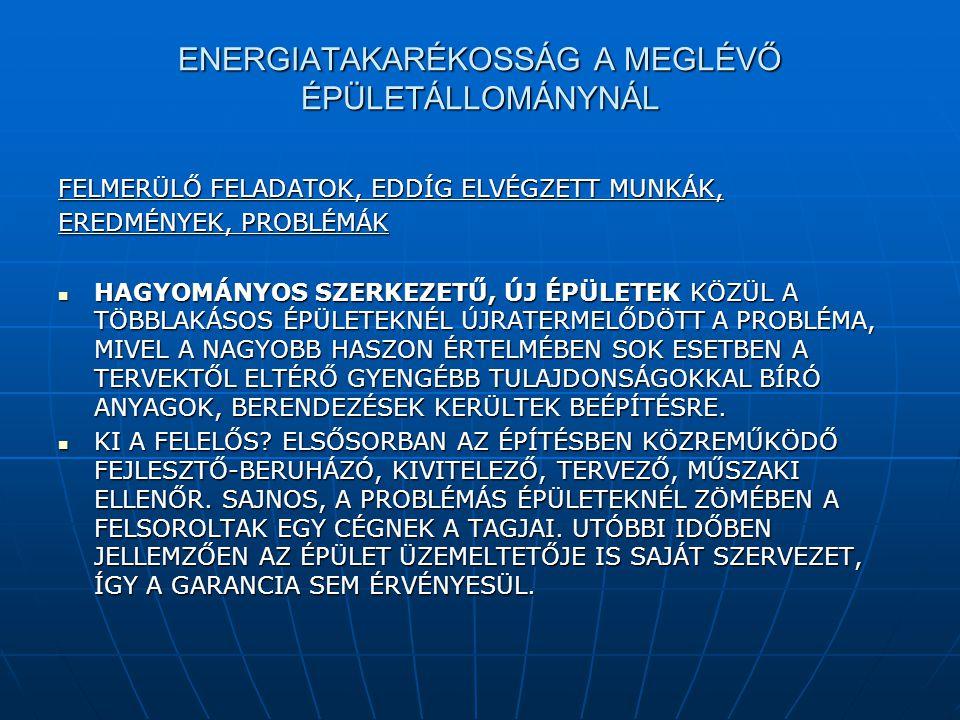 ENERGIATAKARÉKOSSÁG A MEGLÉVŐ ÉPÜLETÁLLOMÁNYNÁL FELMERÜLŐ FELADATOK, EDDÍG ELVÉGZETT MUNKÁK, EREDMÉNYEK, PROBLÉMÁK  HAGYOMÁNYOS SZERKEZETŰ, ÚJ ÉPÜLET