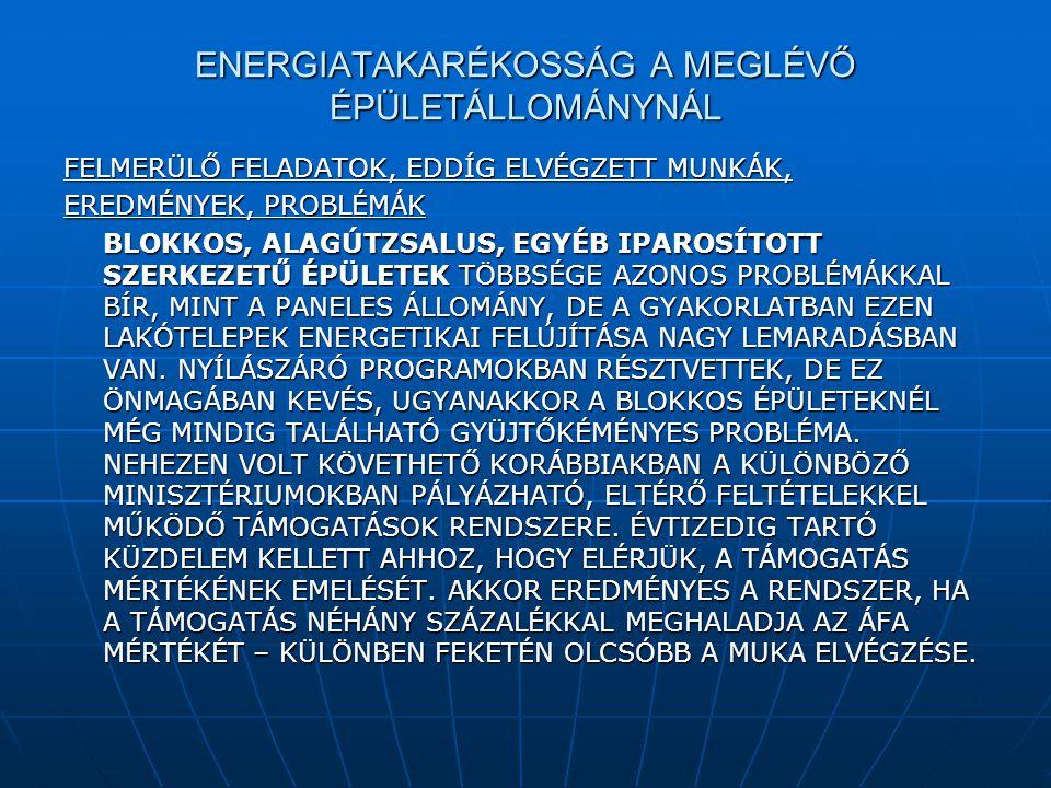 ENERGIATAKARÉKOSSÁG A MEGLÉVŐ ÉPÜLETÁLLOMÁNYNÁL FELMERÜLŐ FELADATOK, EDDÍG ELVÉGZETT MUNKÁK, EREDMÉNYEK, PROBLÉMÁK BLOKKOS, ALAGÚTZSALUS, EGYÉB IPAROS