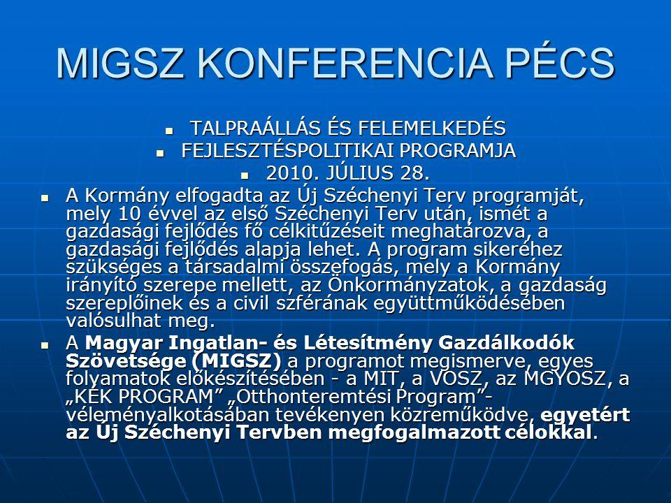 MIGSZ KONFERENCIA PÉCS  TALPRAÁLLÁS ÉS FELEMELKEDÉS  FEJLESZTÉSPOLITIKAI PROGRAMJA  2010. JÚLIUS 28.  A Kormány elfogadta az Új Széchenyi Terv pro