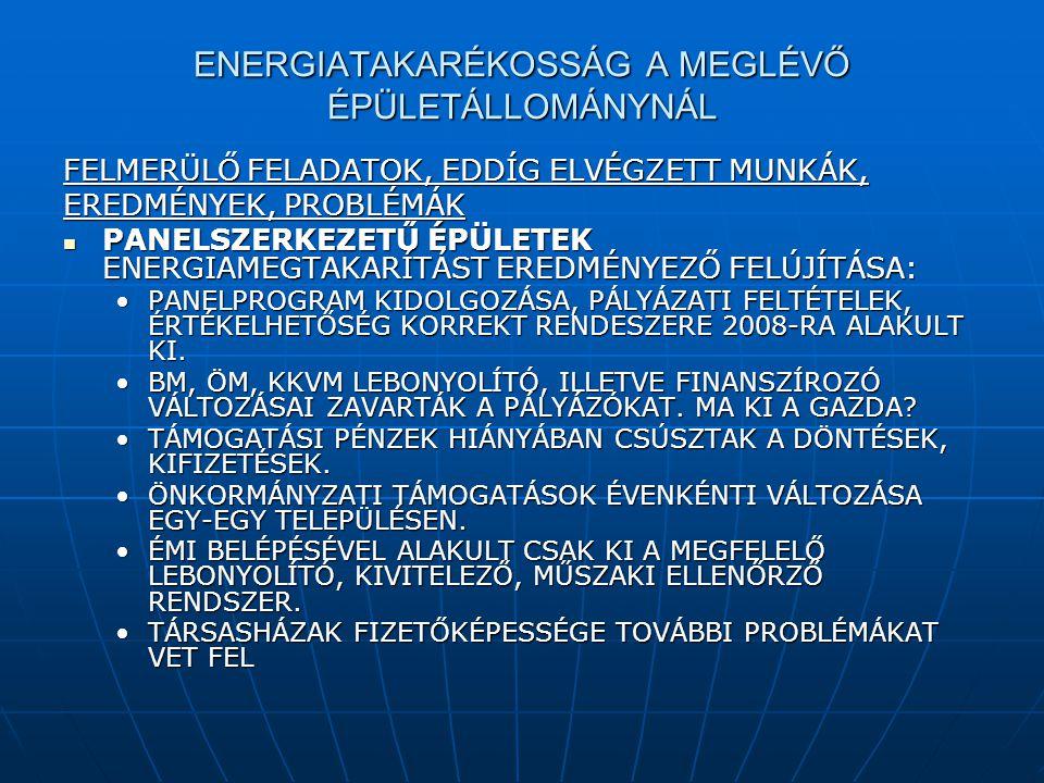 ENERGIATAKARÉKOSSÁG A MEGLÉVŐ ÉPÜLETÁLLOMÁNYNÁL FELMERÜLŐ FELADATOK, EDDÍG ELVÉGZETT MUNKÁK, EREDMÉNYEK, PROBLÉMÁK  PANELSZERKEZETŰ ÉPÜLETEK ENERGIAM