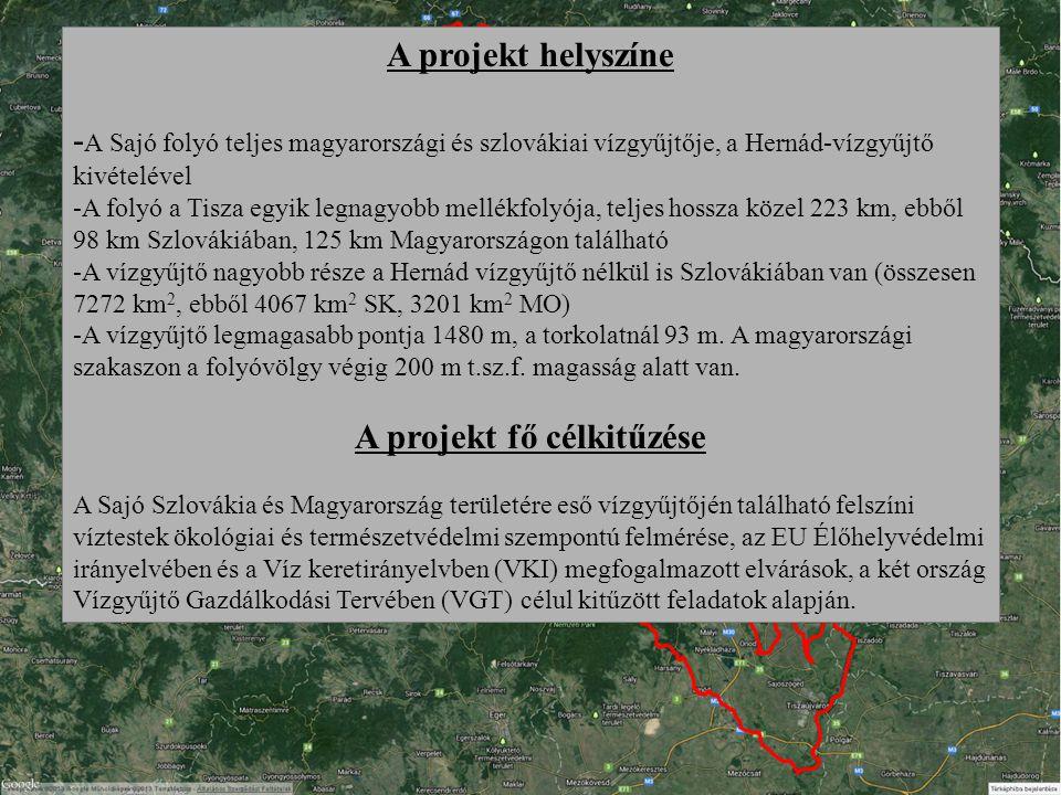 A projekt helyszíne - A Sajó folyó teljes magyarországi és szlovákiai vízgyűjtője, a Hernád-vízgyűjtő kivételével -A folyó a Tisza egyik legnagyobb mellékfolyója, teljes hossza közel 223 km, ebből 98 km Szlovákiában, 125 km Magyarországon található -A vízgyűjtő nagyobb része a Hernád vízgyűjtő nélkül is Szlovákiában van (összesen 7272 km 2, ebből 4067 km 2 SK, 3201 km 2 MO) -A vízgyűjtő legmagasabb pontja 1480 m, a torkolatnál 93 m.