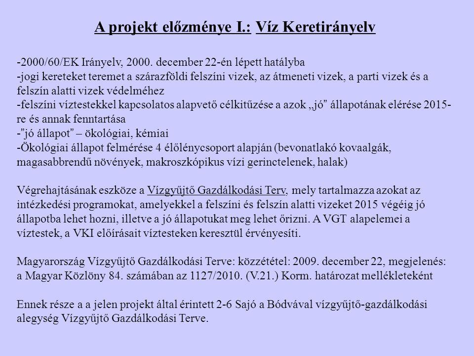 A projekt előzménye I.: Víz Keretirányelv -2000/60/EK Irányelv, 2000.