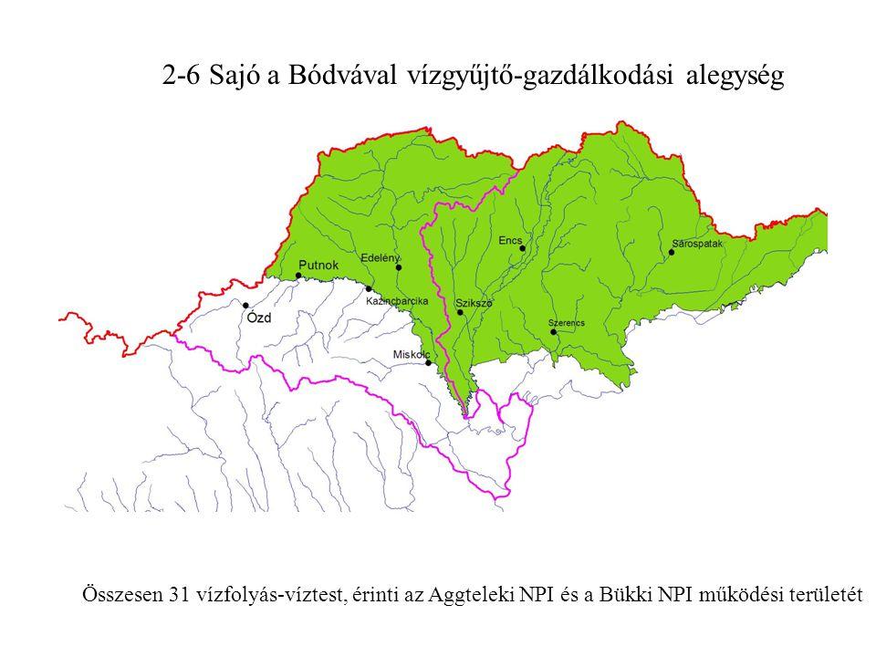 2-6 Sajó a Bódvával vízgyűjtő-gazdálkodási alegység Összesen 31 vízfolyás-víztest, érinti az Aggteleki NPI és a Bükki NPI működési területét