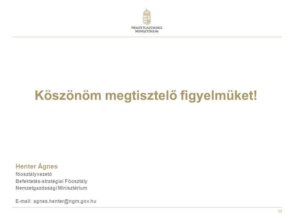 16 Köszönöm megtisztelő figyelmüket! Henter Ágnes főosztályvezető Befektetés-stratégiai Főosztály Nemzetgazdasági Minisztérium E-mail: agnes.henter@ng