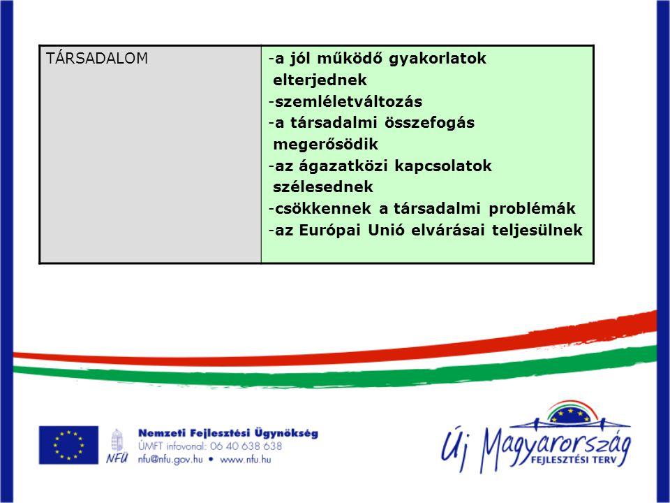 TÁRSADALOM-a jól működő gyakorlatok elterjednek -szemléletváltozás -a társadalmi összefogás megerősödik -az ágazatközi kapcsolatok szélesednek -csökkennek a társadalmi problémák -az Európai Unió elvárásai teljesülnek