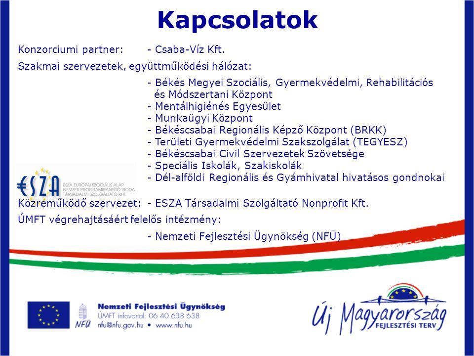 Kapcsolatok Konzorciumi partner: - Csaba-Víz Kft.