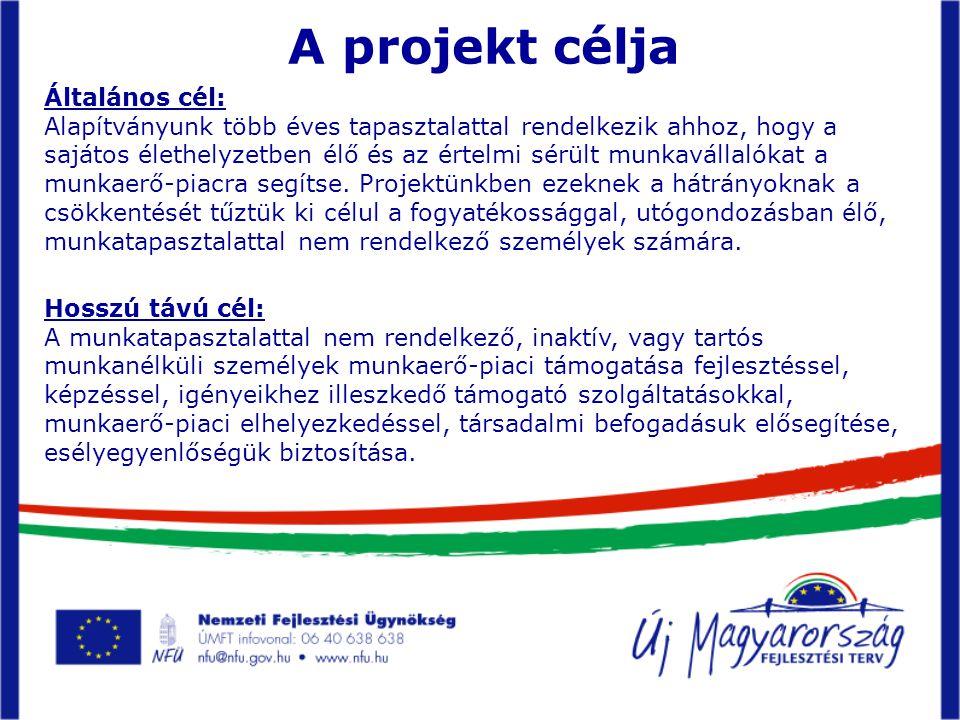 A projekt célja Általános cél: Alapítványunk több éves tapasztalattal rendelkezik ahhoz, hogy a sajátos élethelyzetben élő és az értelmi sérült munkavállalókat a munkaerő-piacra segítse.