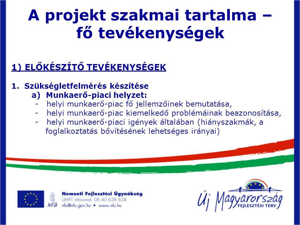 A projekt szakmai tartalma – fő tevékenységek 1) ELŐKÉSZÍTŐ TEVÉKENYSÉGEK 1.