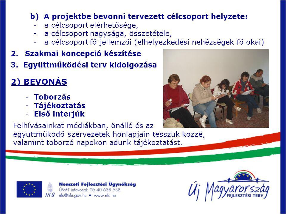 2) BEVONÁS - Toborzás - Tájékoztatás - Első interjúk Felhívásainkat médiákban, önálló és az együttműködő szervezetek honlapjain tesszük közzé, valamint toborzó napokon adunk tájékoztatást.