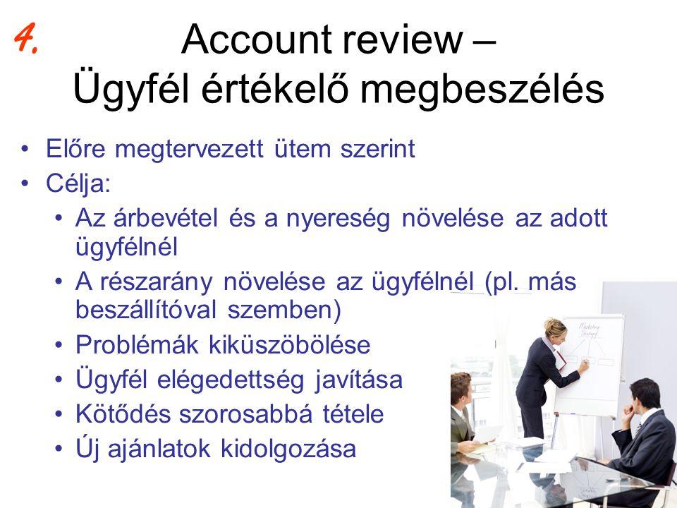 Account review – Ügyfél értékelő megbeszélés •Előre megtervezett ütem szerint •Célja: •Az árbevétel és a nyereség növelése az adott ügyfélnél •A résza