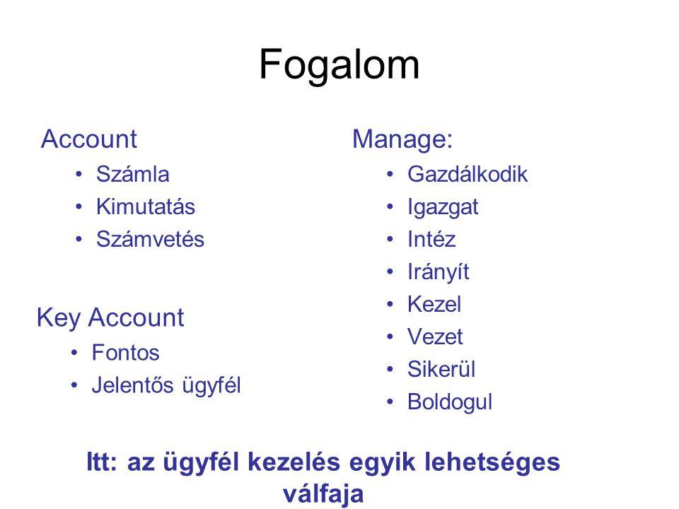 Fogalom Account •Számla •Kimutatás •Számvetés Manage: •Gazdálkodik •Igazgat •Intéz •Irányít •Kezel •Vezet •Sikerül •Boldogul Key Account •Fontos •Jele