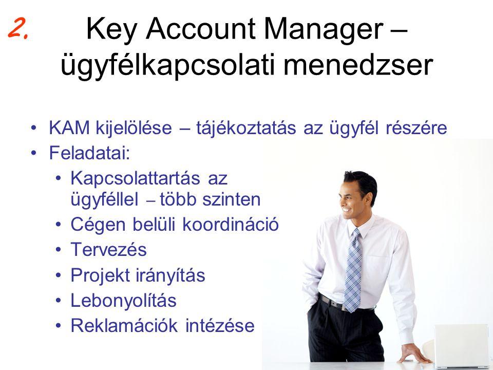 Key Account Manager – ügyfélkapcsolati menedzser •KAM kijelölése – tájékoztatás az ügyfél részére •Feladatai: •Kapcsolattartás az ügyféllel – több szi