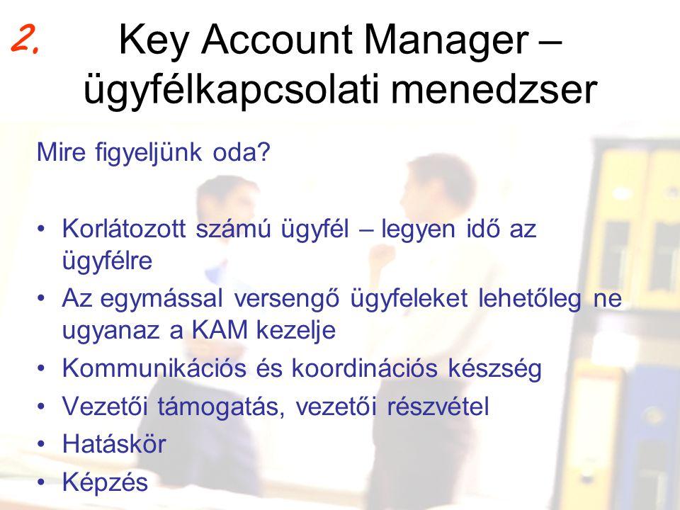 Key Account Manager – ügyfélkapcsolati menedzser Mire figyeljünk oda? •Korlátozott számú ügyfél – legyen idő az ügyfélre •Az egymással versengő ügyfel