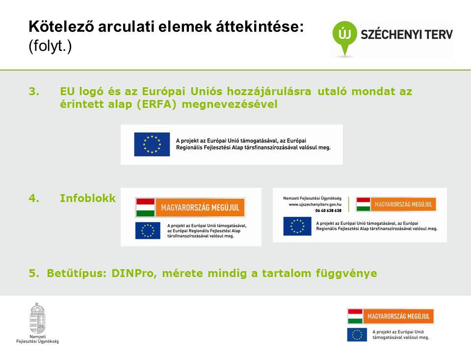 Kötelező arculati elemek áttekintése: (folyt.) 3.EU logó és az Európai Uniós hozzájárulásra utaló mondat az érintett alap (ERFA) megnevezésével 4.Info