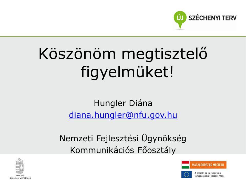 Köszönöm megtisztelő figyelmüket! Hungler Diána diana.hungler@nfu.gov.hu Nemzeti Fejlesztési Ügynökség Kommunikációs Főosztály