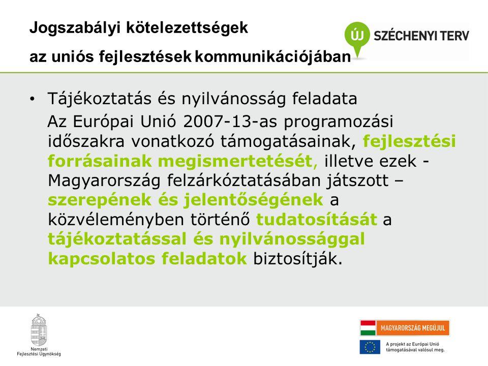 Ennek keretében… •minden magyar állampolgárhoz el kell juttatni az információkat, hogy Magyarország fejlődéséhez és az életminőség javításához milyen forrásokkal és mely programokon keresztül járul hozzá az Európai Unió; •teljes körű tájékoztatást kell nyújtani az európai uniós források elérését és felhasználását lehetővé tevő programokról, illetve a konkrét pályázati kiírásokról; •a programok előrehaladtával be kell számolni az elért eredményekről.