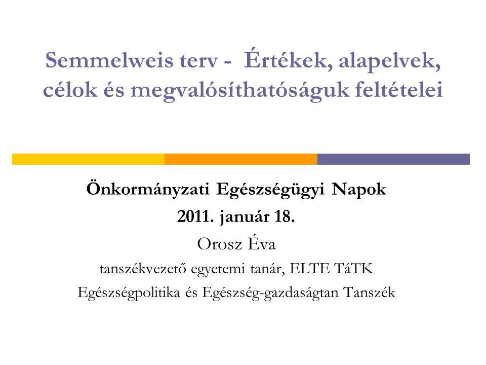Semmelweis terv - Értékek, alapelvek, célok és megvalósíthatóságuk feltételei Önkormányzati Egészségügyi Napok 2011. január 18. Orosz Éva tanszékvezet
