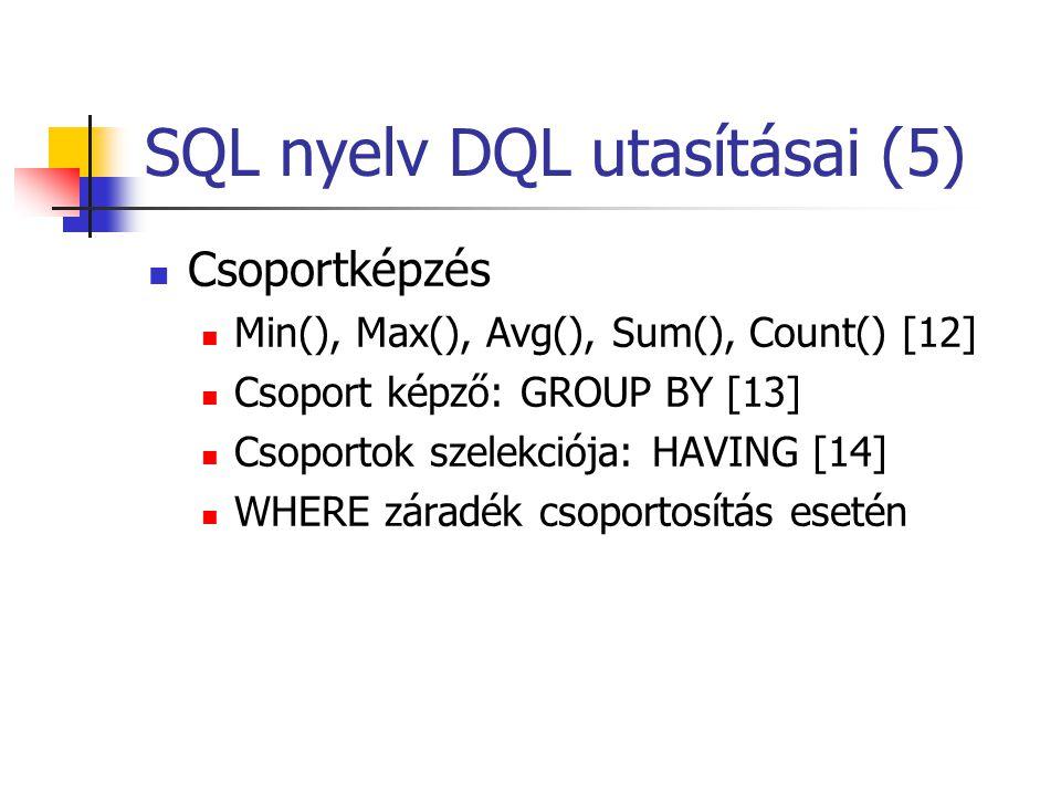 SQL nyelv DQL utasításai (5)  Csoportképzés  Min(), Max(), Avg(), Sum(), Count() [12]  Csoport képző: GROUP BY [13]  Csoportok szelekciója: HAVING