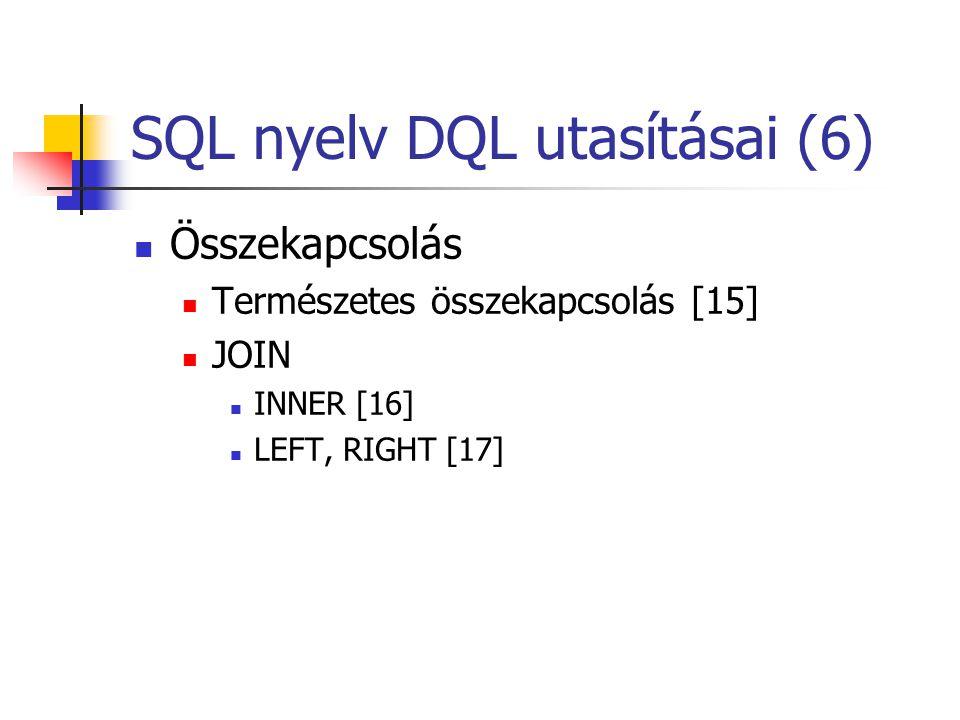 SQL nyelv DQL utasításai (6)  Összekapcsolás  Természetes összekapcsolás [15]  JOIN  INNER [16]  LEFT, RIGHT [17]