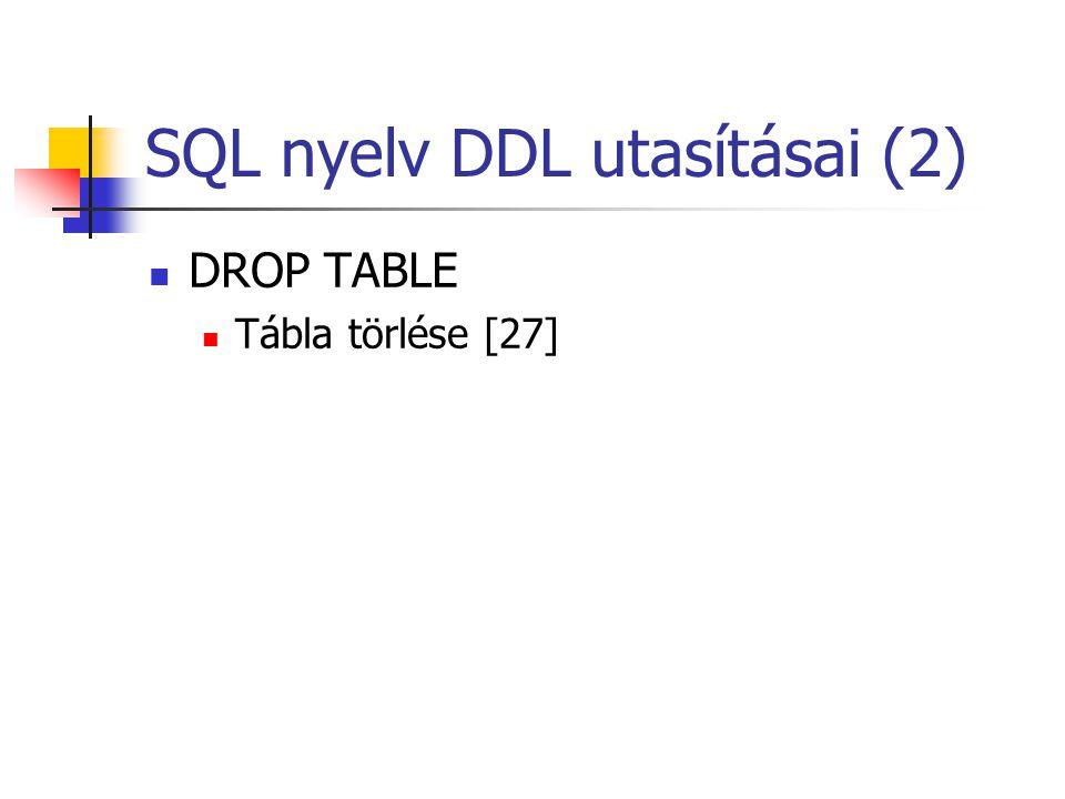 SQL nyelv DDL utasításai (2)  DROP TABLE  Tábla törlése [27]