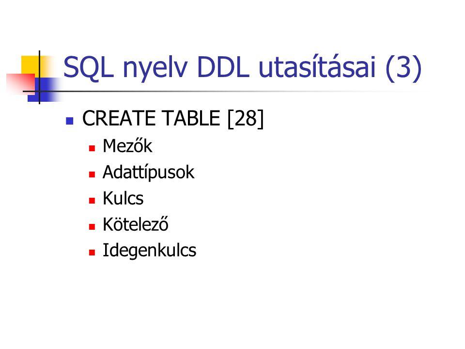 SQL nyelv DDL utasításai (3)  CREATE TABLE [28]  Mezők  Adattípusok  Kulcs  Kötelező  Idegenkulcs