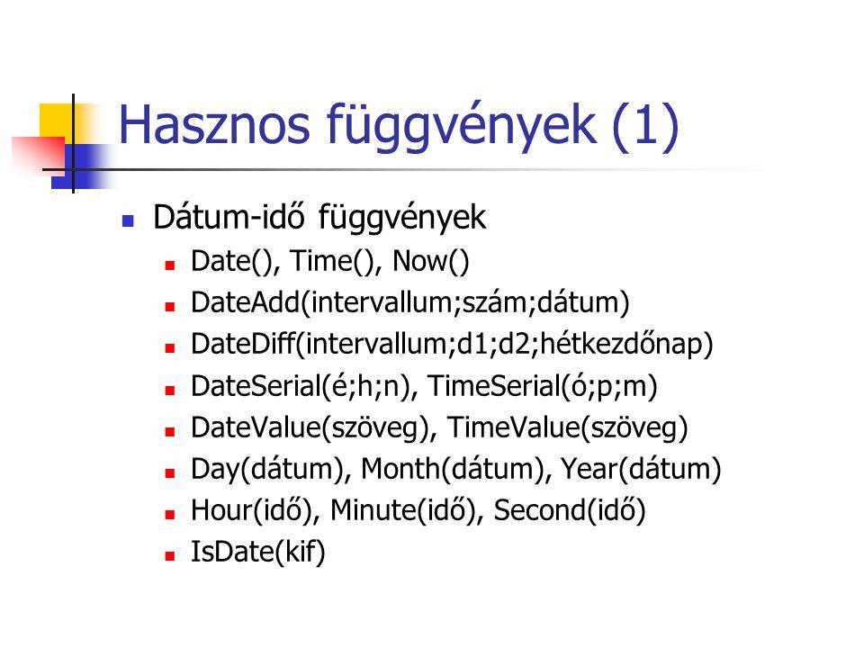 Hasznos függvények (1)  Dátum-idő függvények  Date(), Time(), Now()  DateAdd(intervallum;szám;dátum)  DateDiff(intervallum;d1;d2;hétkezdőnap)  Da
