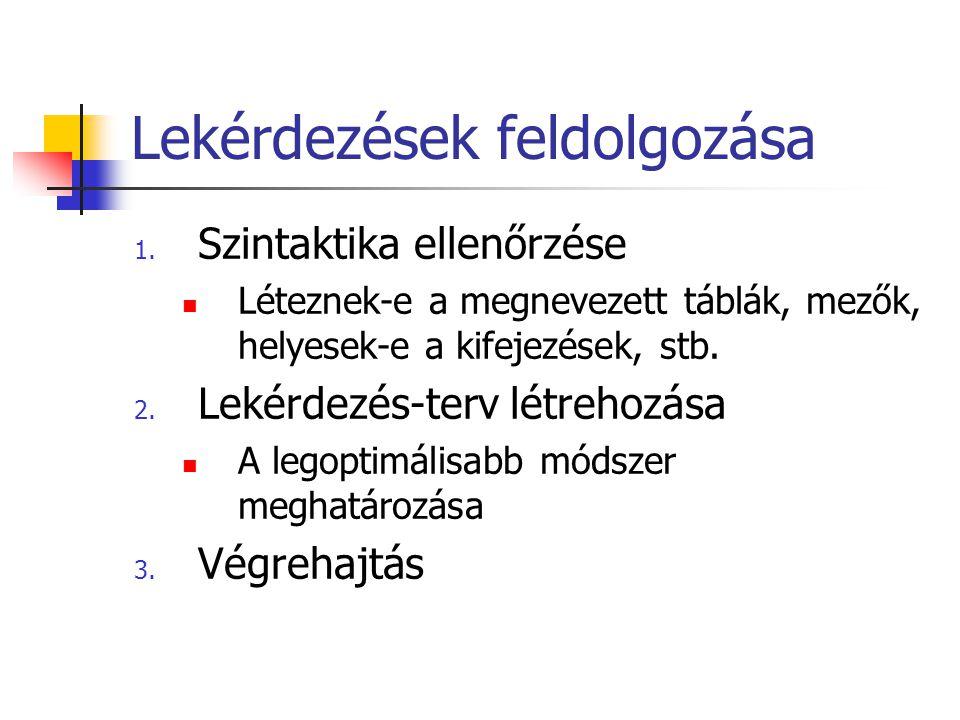 Lekérdezések feldolgozása 1. Szintaktika ellenőrzése  Léteznek-e a megnevezett táblák, mezők, helyesek-e a kifejezések, stb. 2. Lekérdezés-terv létre