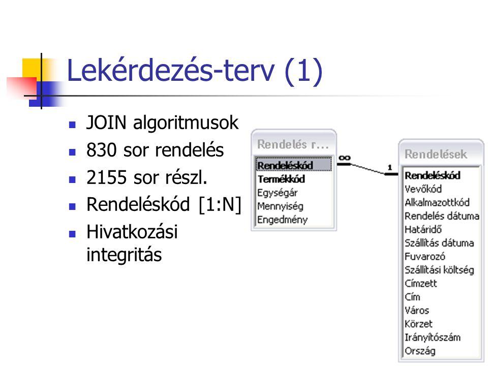 Lekérdezés-terv (1)  JOIN algoritmusok  830 sor rendelés  2155 sor részl.  Rendeléskód [1:N]  Hivatkozási integritás