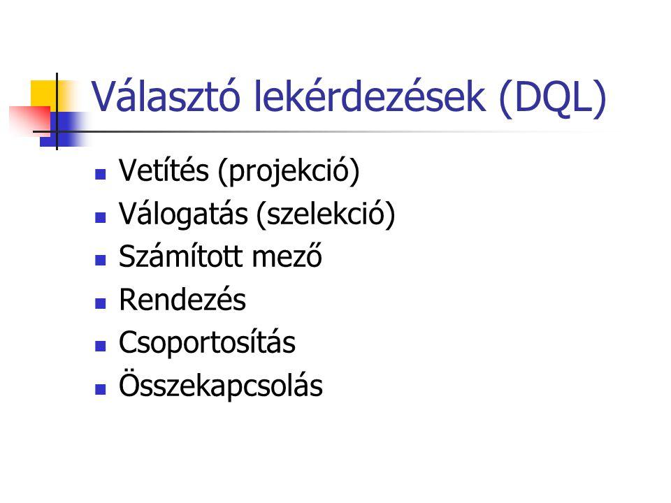 Választó lekérdezések (DQL)  Vetítés (projekció)  Válogatás (szelekció)  Számított mező  Rendezés  Csoportosítás  Összekapcsolás