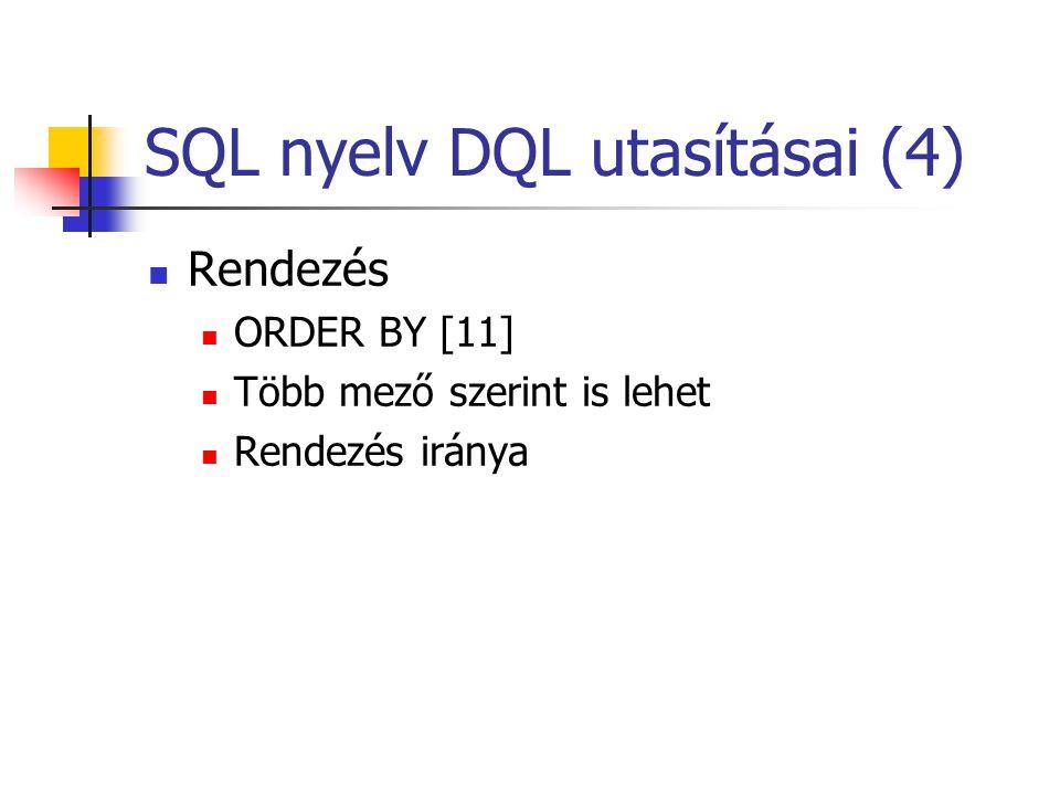 SQL nyelv DQL utasításai (5)  Csoportképzés  Min(), Max(), Avg(), Sum(), Count() [12]  Csoport képző: GROUP BY [13]  Csoportok szelekciója: HAVING [14]  WHERE záradék csoportosítás esetén