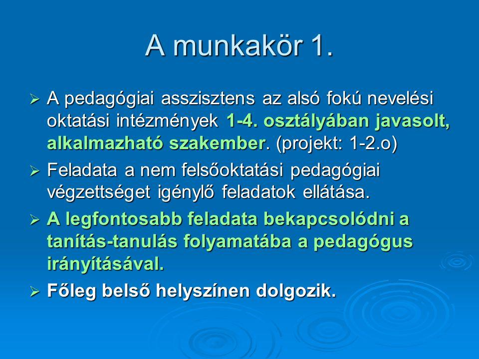 A munkakör 1.  A pedagógiai asszisztens az alsó fokú nevelési oktatási intézmények 1-4. osztályában javasolt, alkalmazható szakember. (projekt: 1-2.o