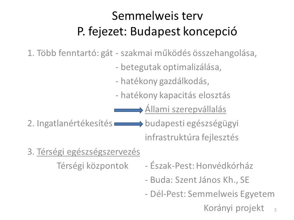 Semmelweis terv P. fejezet: Budapest koncepció 1. Több fenntartó: gát- szakmai működés összehangolása, - betegutak optimalizálása, - hatékony gazdálko