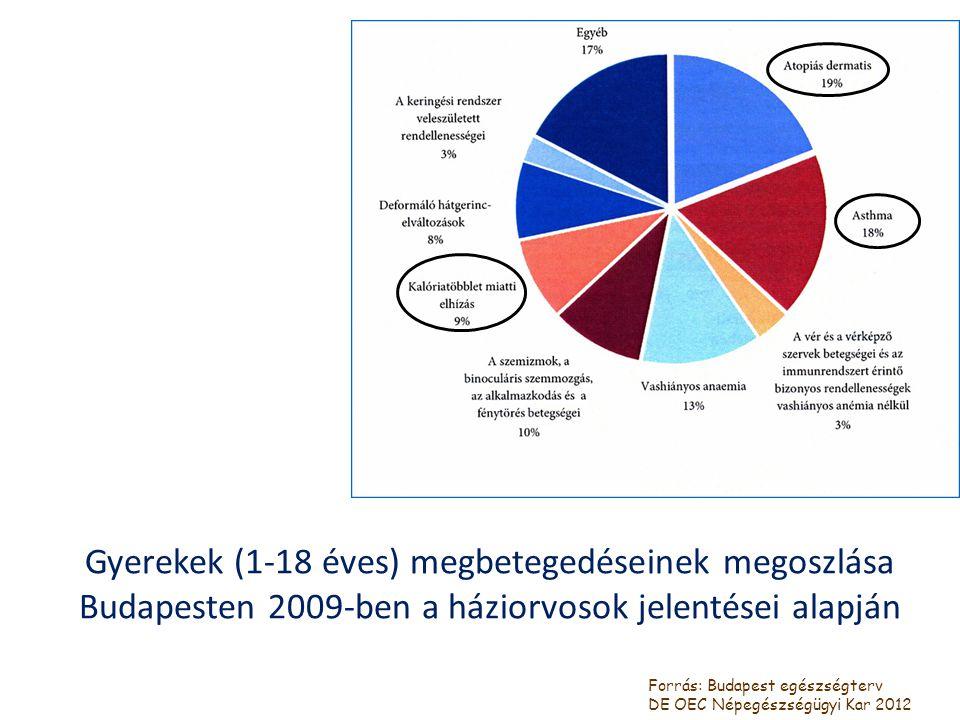 Gyerekek (1-18 éves) megbetegedéseinek megoszlása Budapesten 2009-ben a háziorvosok jelentései alapján Forrás: Budapest egészségterv DE OEC Népegészsé