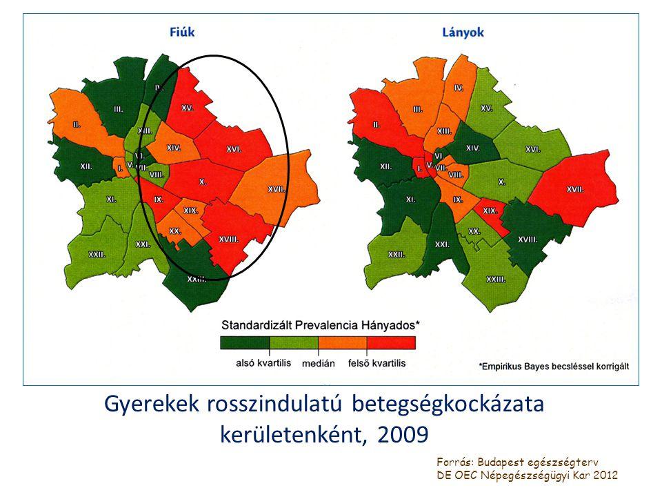 Gyerekek rosszindulatú betegségkockázata kerületenként, 2009 Forrás: Budapest egészségterv DE OEC Népegészségügyi Kar 2012