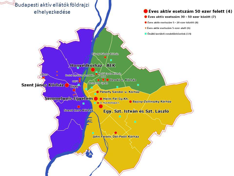 42 Budapesti aktív ellátók földrajzi elhelyezkedése